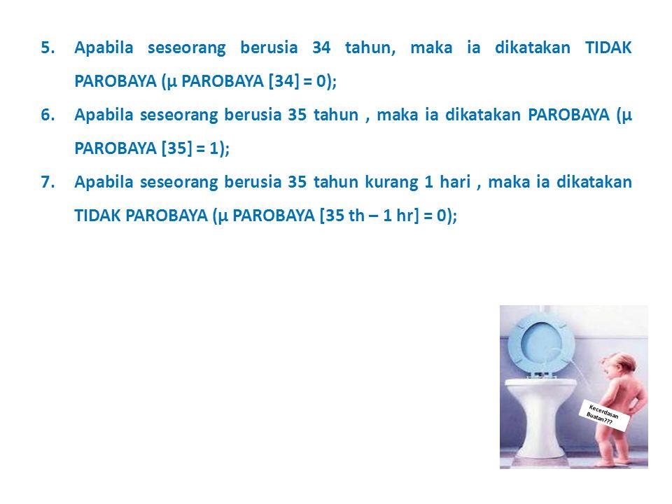 Apabila seseorang berusia 34 tahun, maka ia dikatakan TIDAK PAROBAYA (μ PAROBAYA [34] = 0);